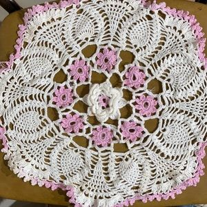 "Lavender Vintage Crocheted Doily 15"""